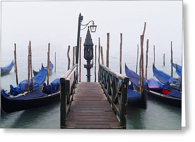 Gondolas Moored In A Canal, Grand Greeting Card by Panoramic Images