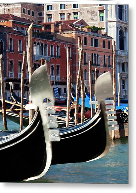 Gondolas On Grand Canal, Venice, Italy Greeting Card by Peter Adams
