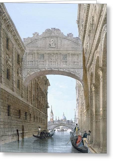 Gondolas Passing Under The Bridge Of Sighs Greeting Card by Giovanni Battista Cecchini