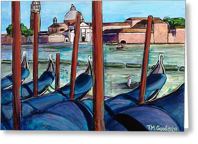Greeting Card featuring the painting Gondolas by TM Gand