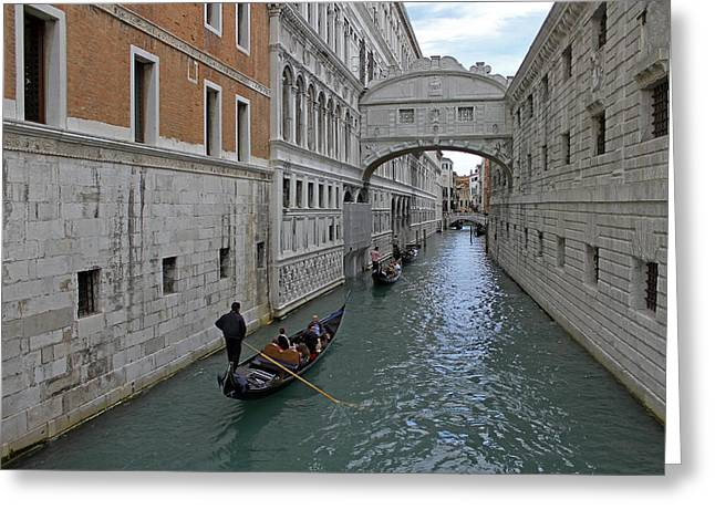 Gondolas Under Bridge Of Sighs Greeting Card