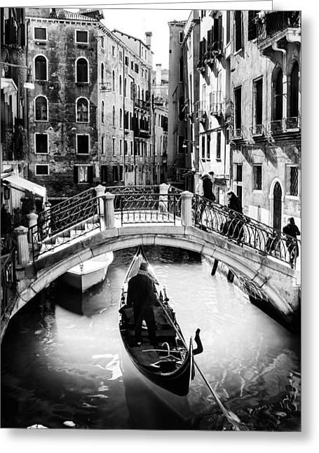Gondolier Greeting Card by Alfio Finocchiaro