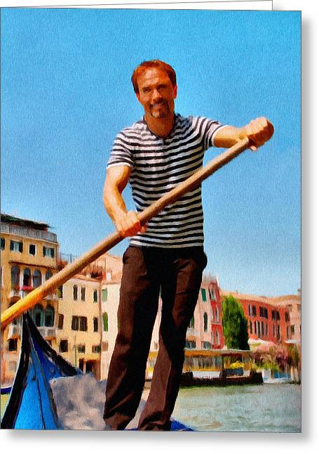 Gondolier Greeting Card by Jeff Kolker