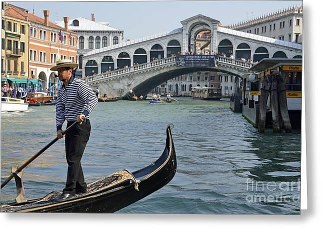 Gondolier On Gondola By Rialto Bridge Greeting Card by Sami Sarkis