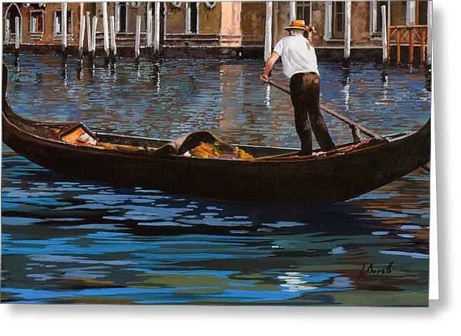 Gondoliere Sul Canale Greeting Card by Guido Borelli