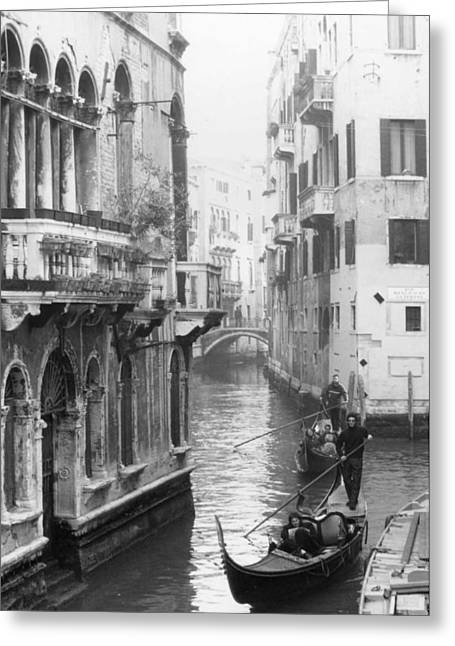 Gondoliers In Venice Greeting Card by Dorothy Berry-Lound
