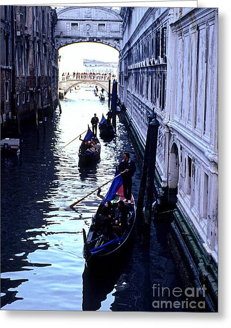 Gondoliers Venice Italy Greeting Card by Ryan Fox