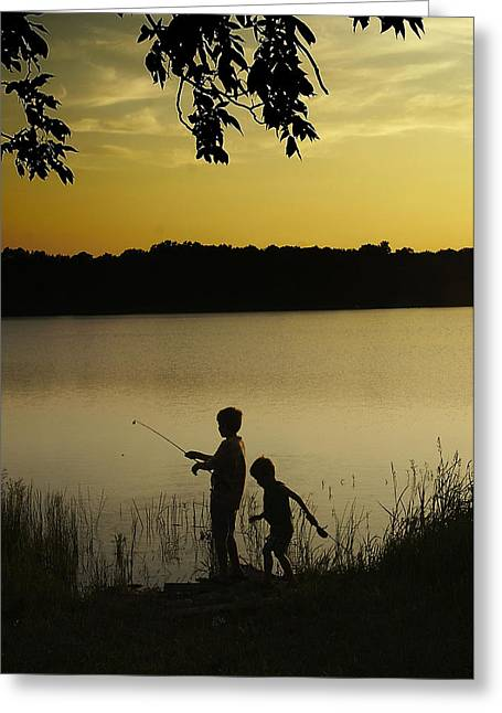 Gone Fishin' Greeting Card by Mary Ely