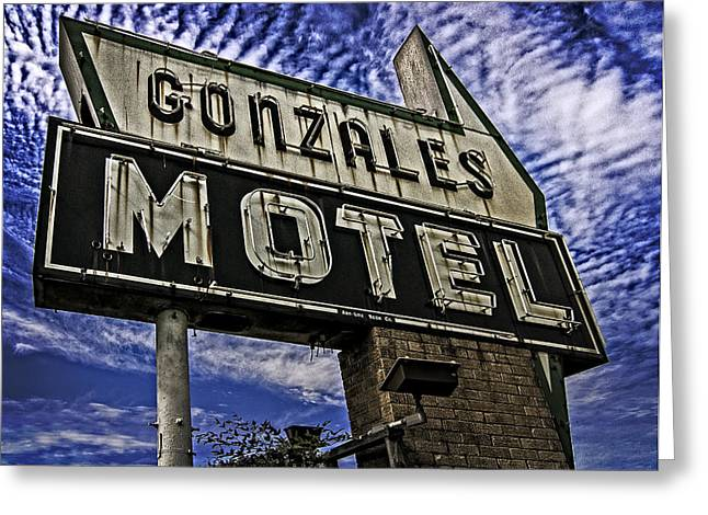 Greeting Card featuring the photograph Gonzales Motel In Color by Andy Crawford