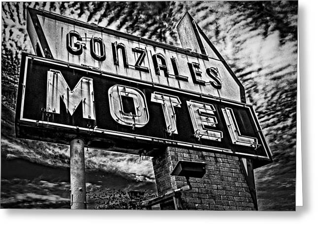 Greeting Card featuring the photograph Gonzales Motel Sign by Andy Crawford