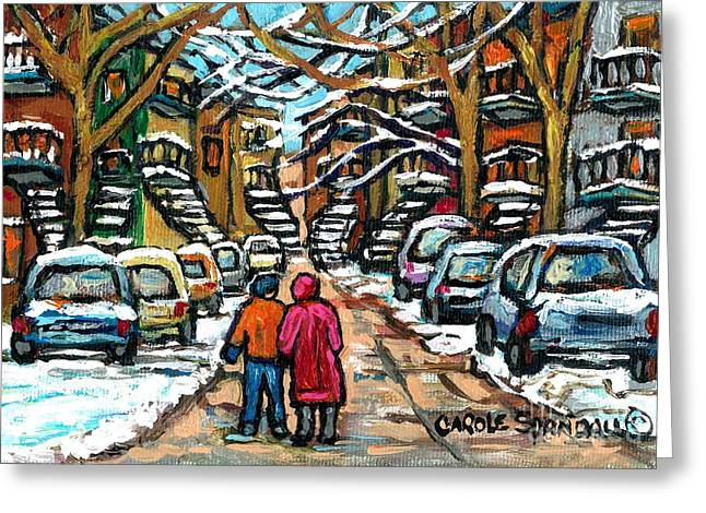Good Day In January For Winter Stroll Snowy Trees And Cars Verdun Street Scene Painting Montreal Art Greeting Card by Carole Spandau