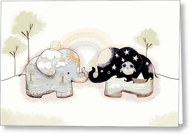 Good Karma Elephants Greeting Card by Karin Taylor