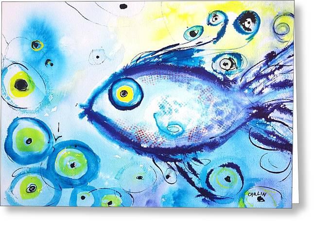 Good Luck Fish Abstract Greeting Card
