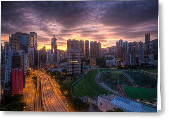 Good Morning Hong Kong Greeting Card by Mike Lee