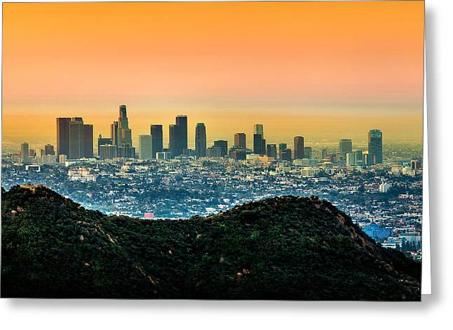 Good Morning La Greeting Card by Az Jackson