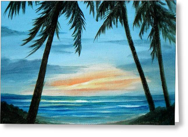 Good Morning Sunshine - Seascape Sunrise And Palm Trees By Rosie Brown Greeting Card by Rosie Brown