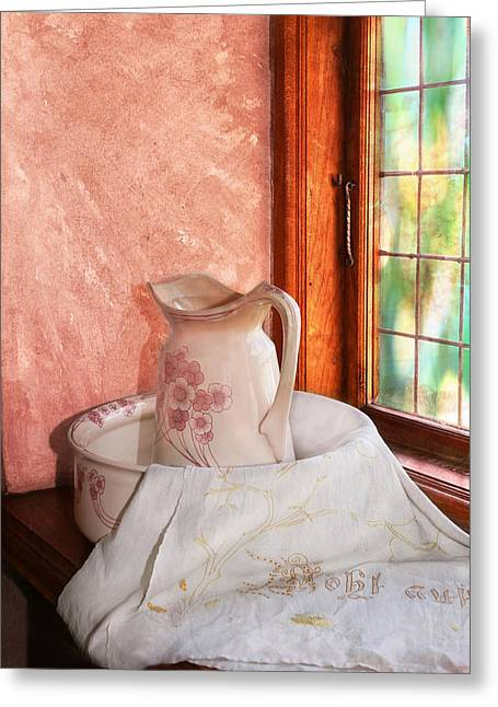 Good Morning- Vintage Pitcher And Wash Bowl  Greeting Card by Guna  Andersone