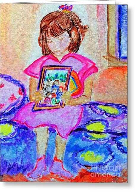 Good Night Family-love Olivia Greeting Card by Helena Bebirian