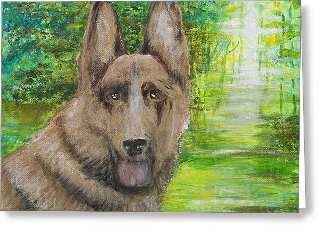 Greeting Card featuring the painting Good Old Shep by Cathy Long