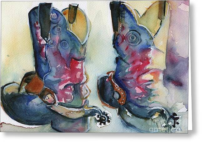 Cowboy Boots In Watercolor Good Ride Greeting Card by Maria's Watercolor
