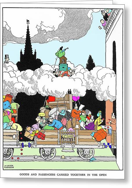 Goods And Passengers Carried Together By W. Heath Robinson Greeting Card by Adam Hart-davis/science Photo Library