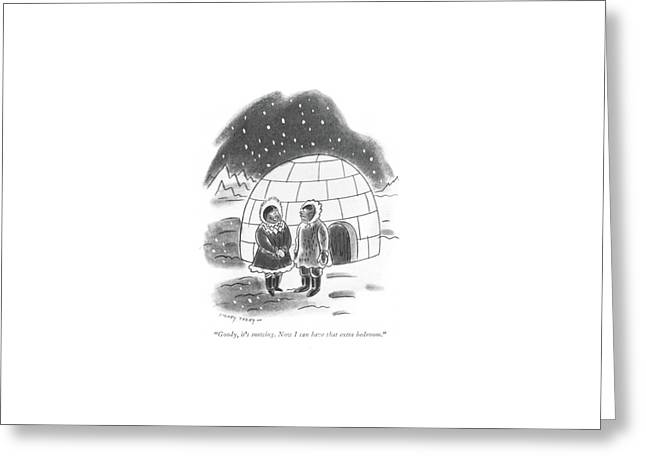 Goody, It's Snowing. Now I Can Have That Extra Greeting Card by Barney Tobey