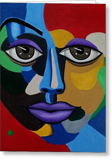 Colorful Illusion Abstract Face Art Painting, Big Brown Eye Art, Optical Artwork Greeting Card