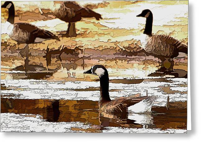 Goose Abstract Greeting Card
