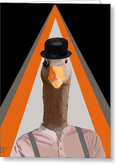 Goose Clockwork Orange Greeting Card by Kelly McLaughlan