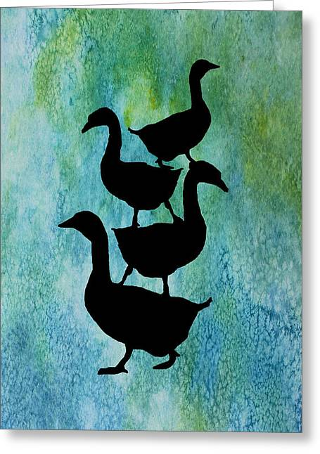 Goose Pile On Aqua Greeting Card by Jenny Armitage