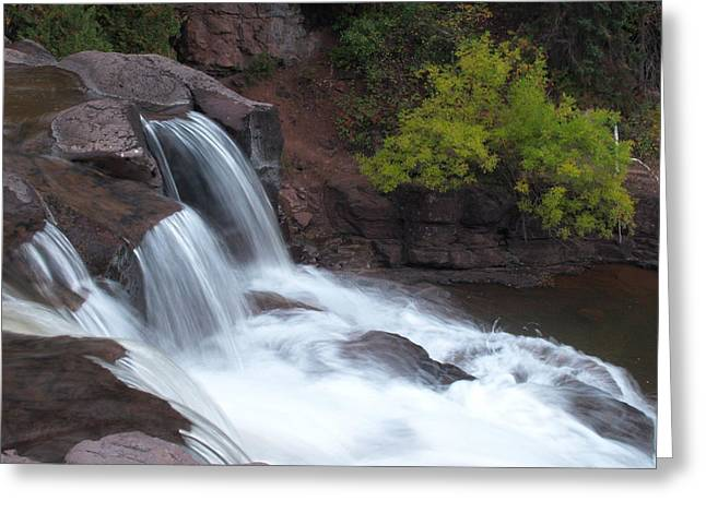 Greeting Card featuring the photograph Gooseberry Falls In Slow Motion by James Peterson