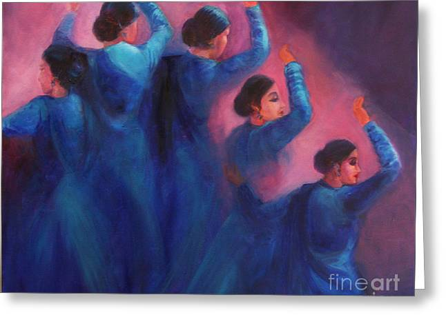 Gopis Dancing In The Dusk Greeting Card