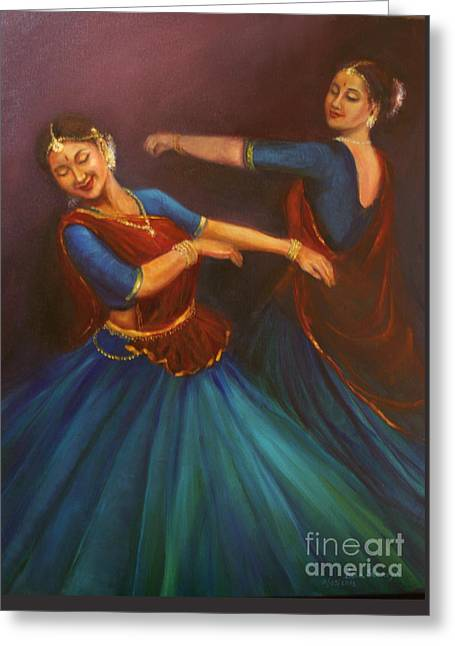 Gopis Dancing To The Flute Of Krishna Greeting Card
