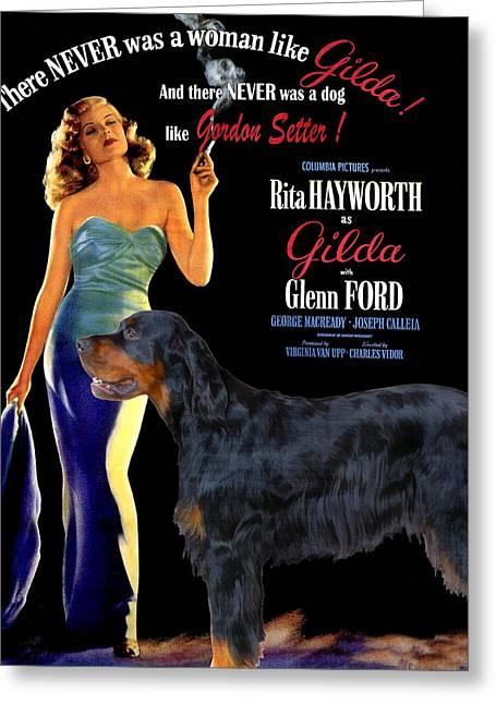 Gordon Setter Art Canvas Print - Gilda Movie Poster Greeting Card by Sandra Sij