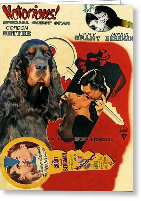 Gordon Setter Art Canvas Print - Notorious Movie Poster Greeting Card by Sandra Sij