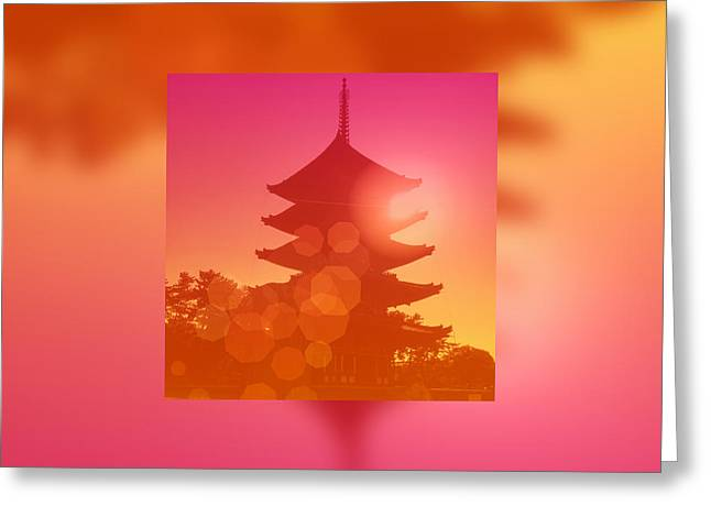Gorgeous Pagoda Silhouette At Sunset Greeting Card by Beverly Claire Kaiya