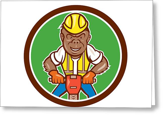Gorilla Construction Jackhammer Circle Cartoon Greeting Card
