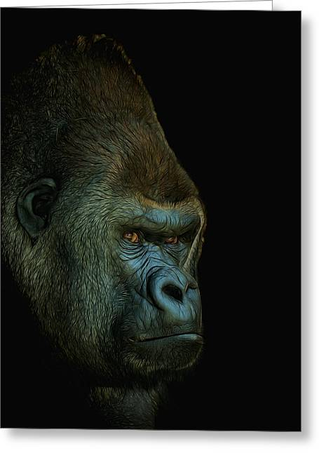 Gorilla Portrait Digital Art Greeting Card by Ernie Echols