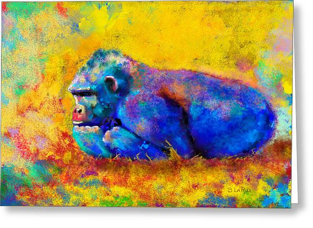 Greeting Card featuring the painting Gorilla by Sean McDunn