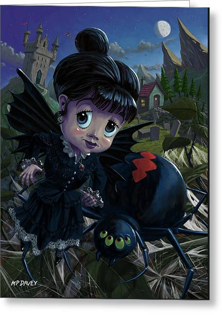 Goth Girl Fairy With Spider Widow Greeting Card by Martin Davey