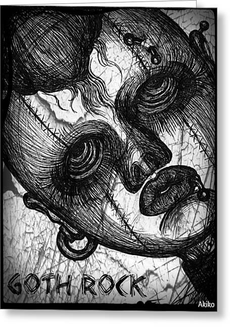 Goth Rock Greeting Card by Akiko Okabe