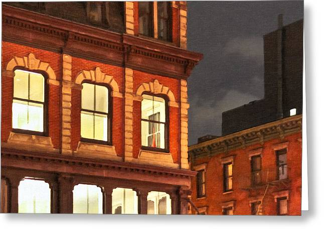 Gotham By Night - New York City Greeting Card by Mark E Tisdale