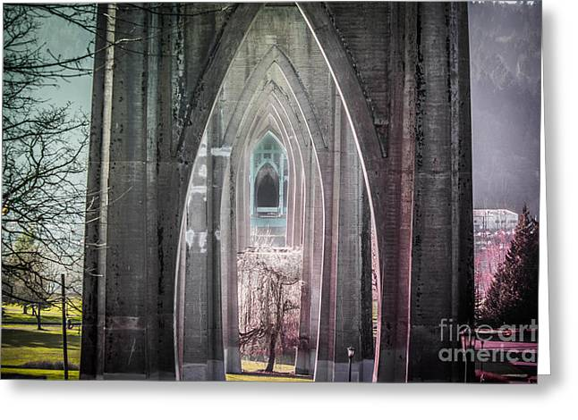 Gothic Arches Hands Folded In Prayer Greeting Card by Patricia Babbitt