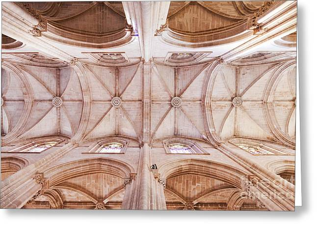 Gothic Ceiling Of The Batalha Monastery Church Greeting Card by Jose Elias - Sofia Pereira