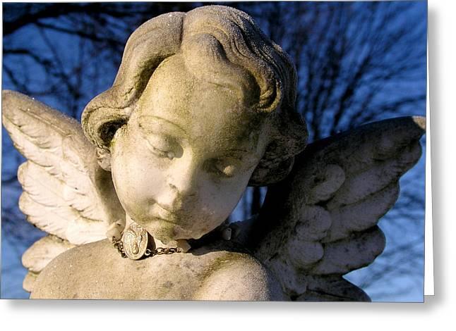 Gothic Cherub Statue Greeting Card by Glenn McGloughlin