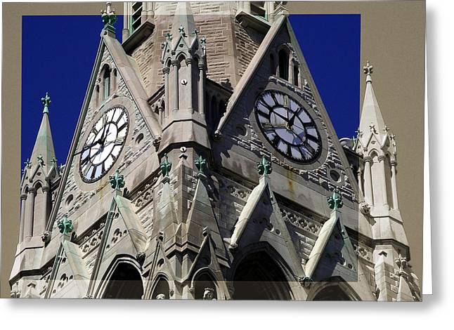Gothic Church Clock Tower Spire Greeting Card