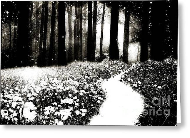 Gothic Dark Black White Surreal Woodlands Path Greeting Card by Kathy Fornal