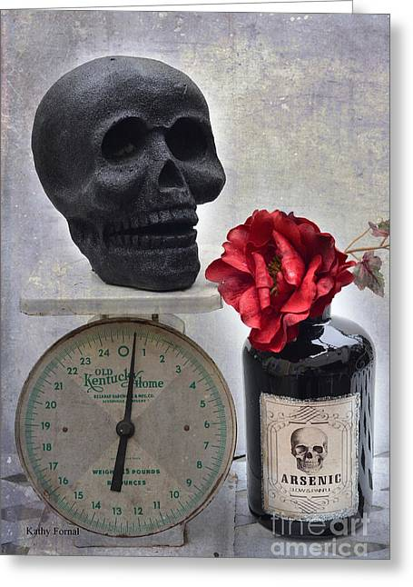 Gothic Fantasy Spooky Halloween Black Skull And Arsenic Bottle With Rose Greeting Card by Kathy Fornal