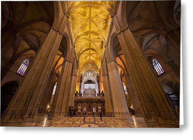 Gothic Interior Of The Seville Cathedral Greeting Card by Artur Bogacki