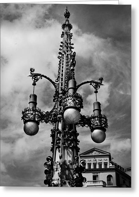 Gothic Lamp Post In Barcelona Greeting Card